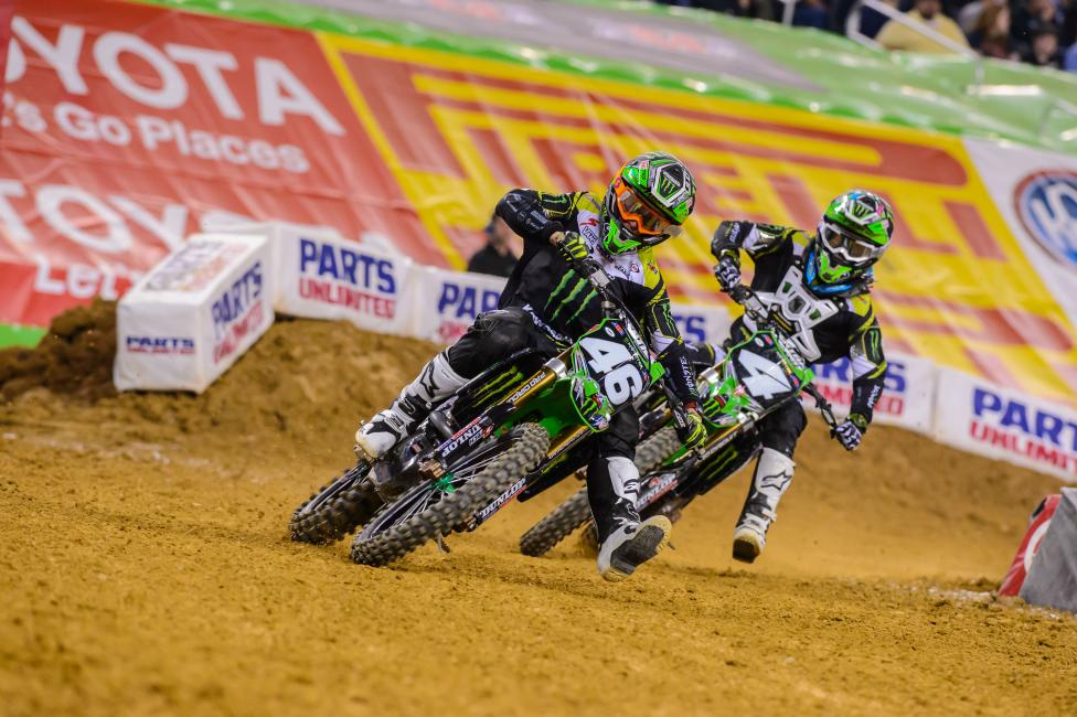 Cianciarulo (46) held off teammate Blake Baggett for the win in Dallas. Photo: Simon Cudby