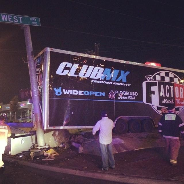 The Factory Metal Works/Club MX trailer following the accident.
