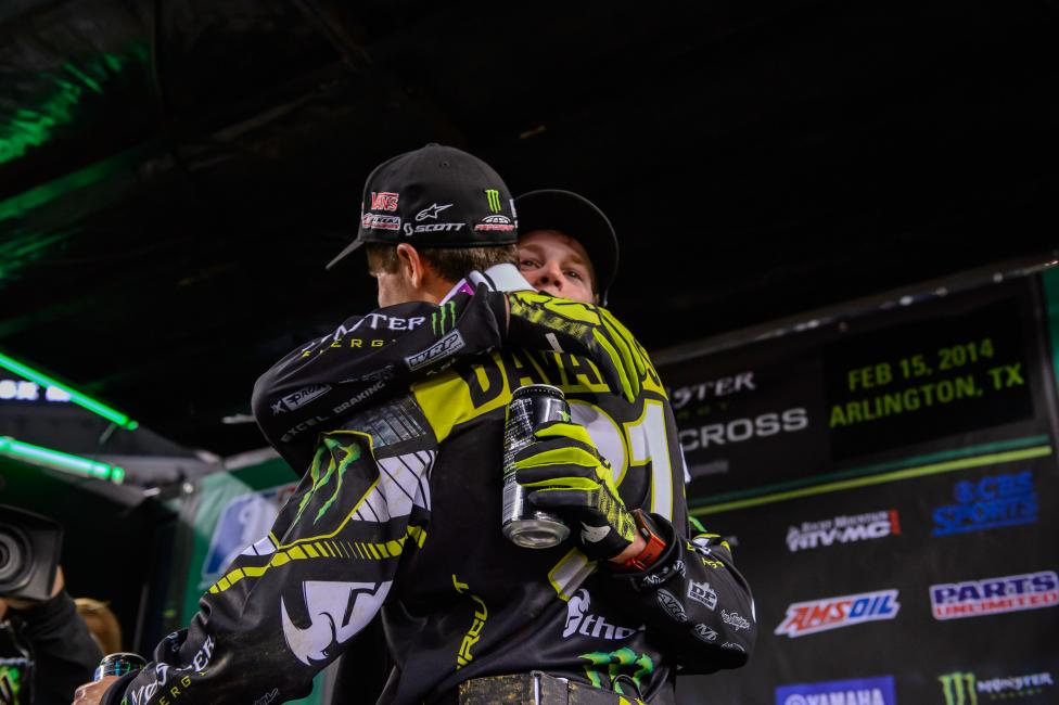 AC and Davalos celebrate on the podium.  Photo: Simon Cudby