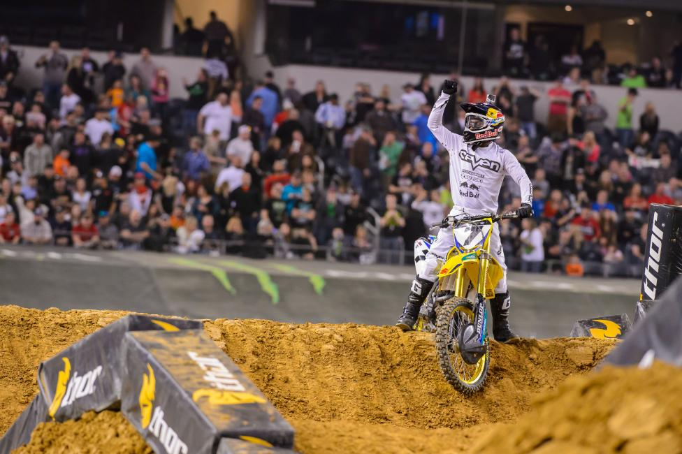 James Stewart became the first 450SX rider with back-to-back wins in 2014 in Dallas.  Photo: Simon Cudby
