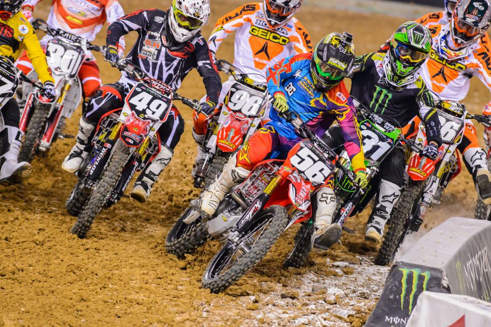 Only two riders had three digit numbers in the 250SX East Region main.  Photo: Simon Cudby