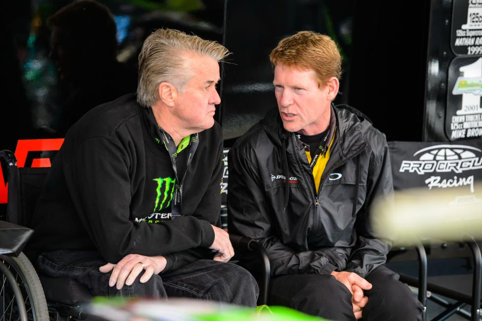 Broc Glover from Dunlop and Pro Circuit's Mitch Payton. These guys have been visiting each other on weekends for about 30 years.Photo: Simon Cudby