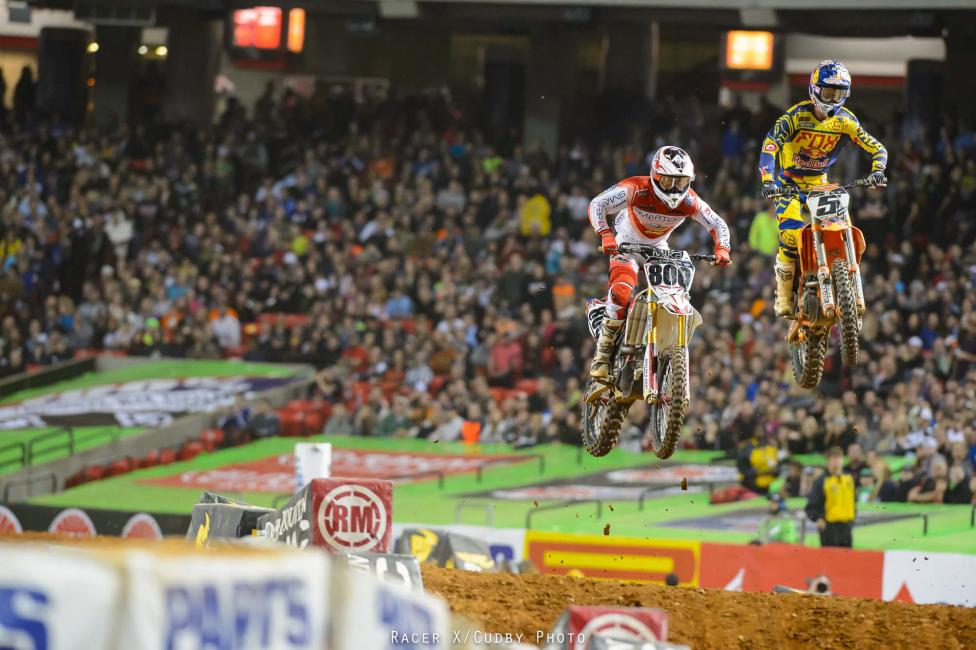 Villopoto, Roczen and Dungey made a charge and caught up to Alessi and each rider passed him at some point in the same lap.