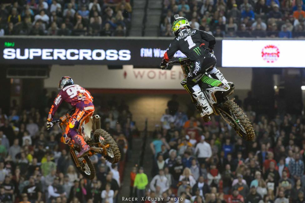 Villopoto held the lead until he lost traction exiting the corner before the triple and was forced to double. Roczen passed Villopoto in the air and went on to win the race. Villopoto kept him honest, but was never able to make a move. Dungey finished behind Villopoto in third.
