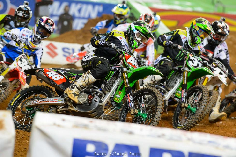 After coming from the LCQ, Adam Cianciarulo pulled the 250SX main event holeshot from the far outside. He led for a few lanes before making a mistake in the second rhythm section, turning over the lead to his Monster Energy/Pro Circuit Kawasaki teammate Martin Davalos.