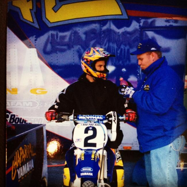 "Barnhart and McGrath under the Chaparral Yamaha tent. Photo: Brian ""Big B"" Barnhart"