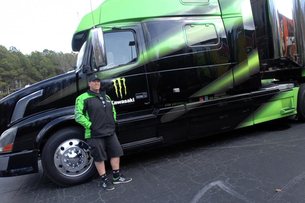 "Brian ""Big B"" Barnhart is the rig driver for Monster Energy Kawasaki.Photo: Carl Stone"