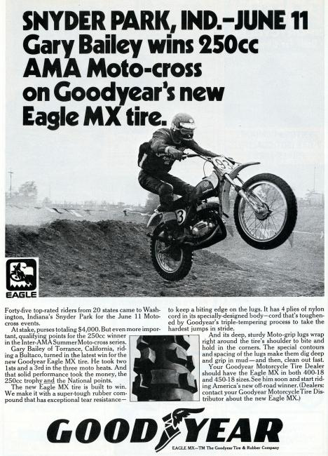 That's The Professor himself, Gary Bailey, after winning a national in Indiana on a Bultaco wearing Goodyear tires.
