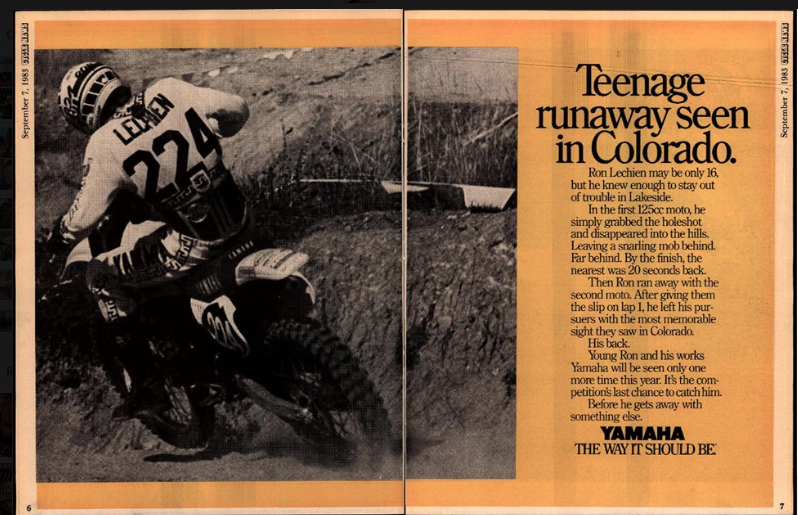 When Ronnie Lechien was winning nationals as a 16-year-old, Yamaha came up with this catchy ad ... probably wouldn't go over well today.