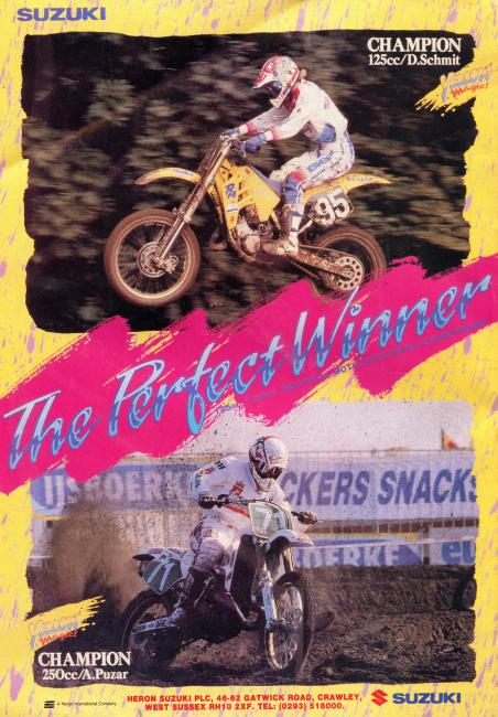 1990 Suzuki ad from England staring the late Donny Schmit (95) and Alex Puzar. That year's 125 and 250 World Champions.