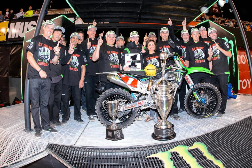 Ah, Villopoto, his team, his bike, and his trusty race-only 762 rear tire.Photo: Cudby