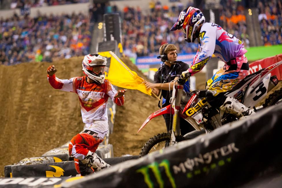 With Ryan Dungey walking away with his first win, Eli Tomac and Mike Alessi were left to battle for second. And for a while, it looked like Alessi was going to hold on for his first podium since 2009 until he cross rutted on the tough rhythm section before the triple and left second for Tomac.