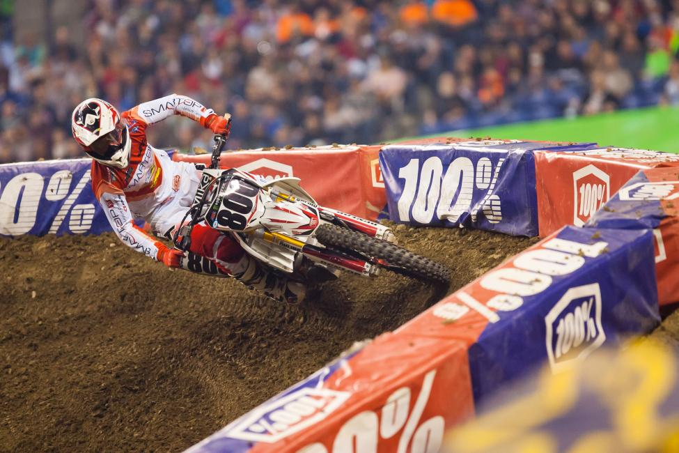 Following a week filled with controversy, MotoConcepts Mike Alessi pushed everything aside to grab the holeshot over Ryan Dungey and Eli Tomac.