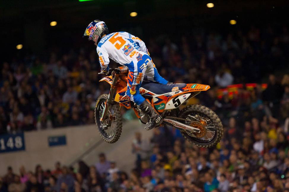 Alessi was stubborn early, hold off the advances of Dungey. But Dungey was relentless, drag racing past Alessi and into the lead following the steep wall jump.
