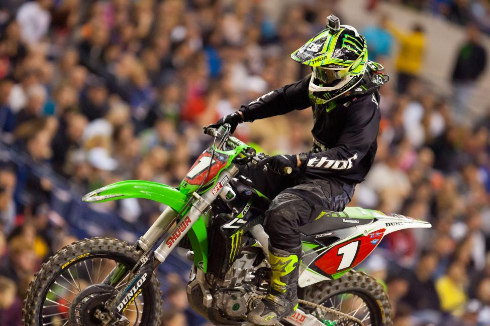 Points leader Ryan Villopoto was taking a different approach, picking off riders left and right, eventually working his way up to fourth, salvaging a ton of points on a tough night.
