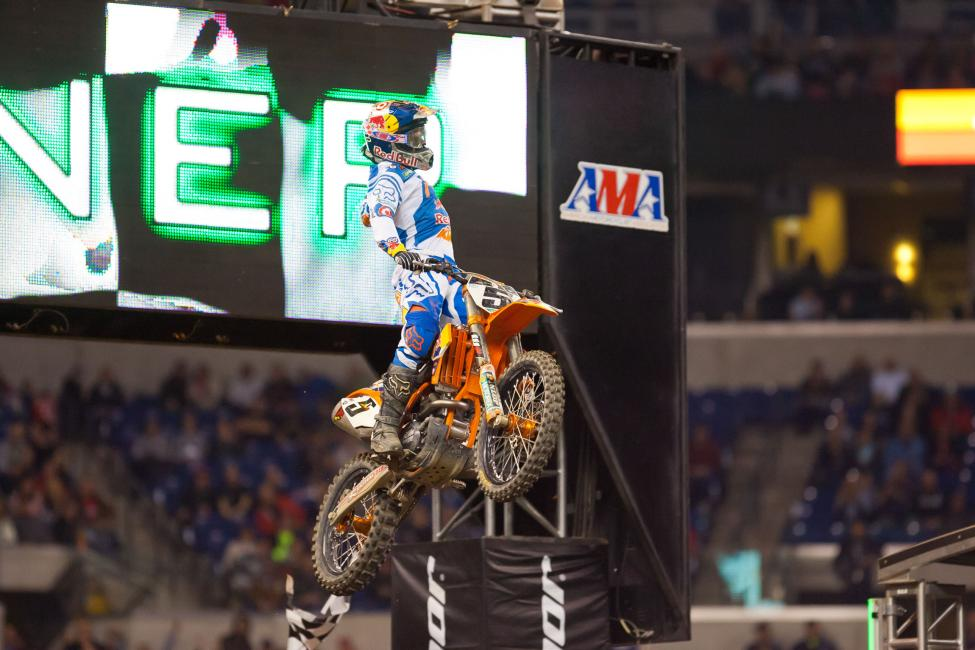 Ryan Dungey celebrates his first win of the season.