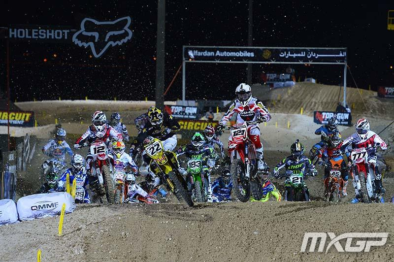 Xavier Boog (121) started the year right with a holeshot over Kevin Strijbos (22). But Max Nagl (12) snagged the opening moto victory.Photo: MXGP.com