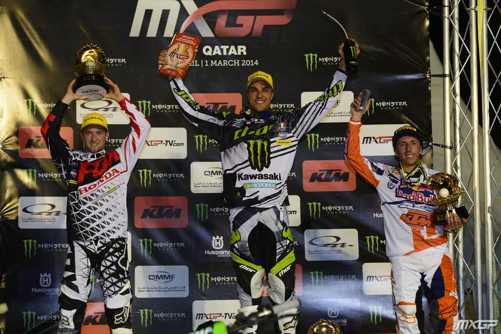 Nagl, Paulin and Cairoli on the box.Photo: MXGP.com