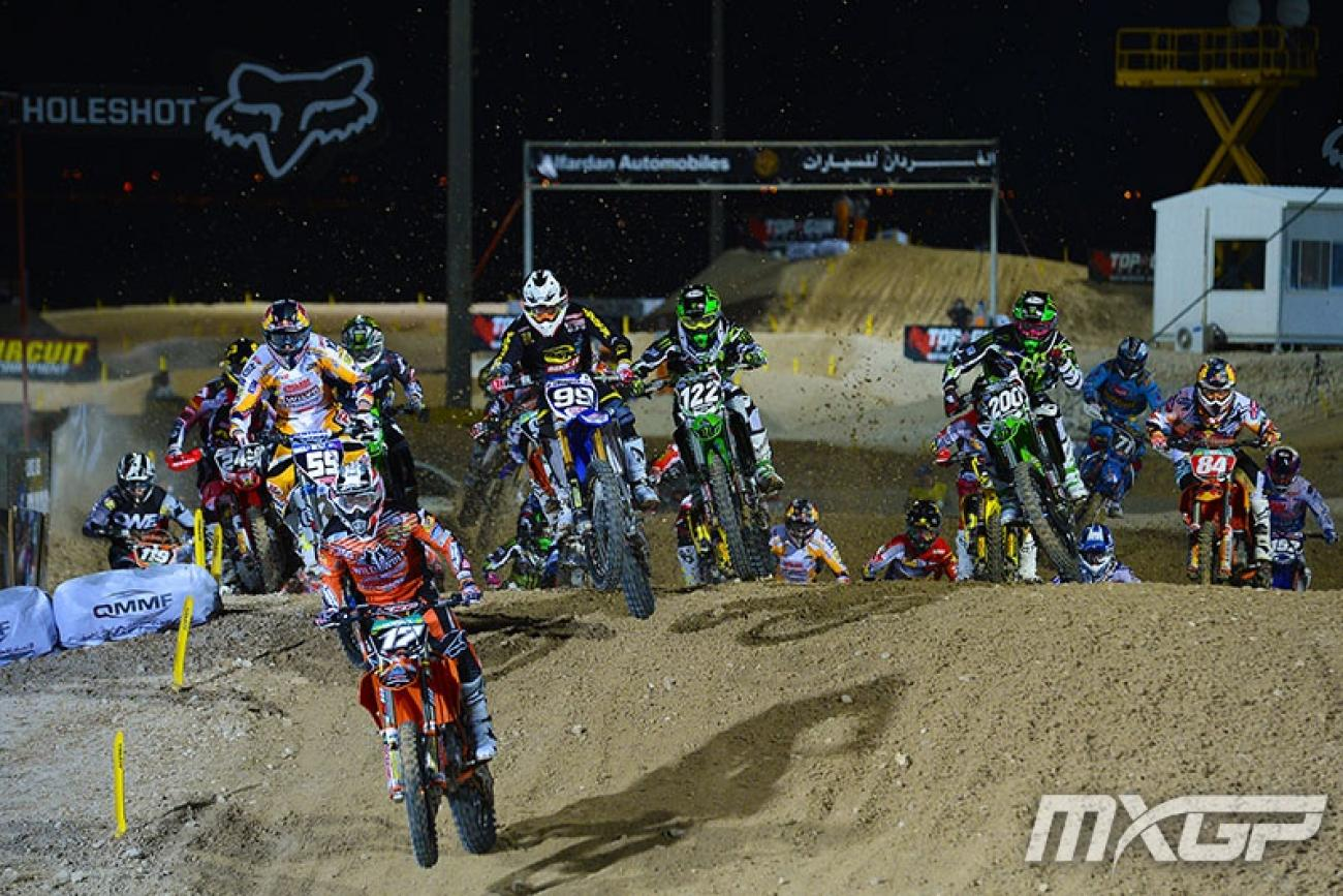 MX2 blasts off. Jose Butron has the early lead, but Dylan Ferrandis (122) was on the gas.Photo: MXGP.com