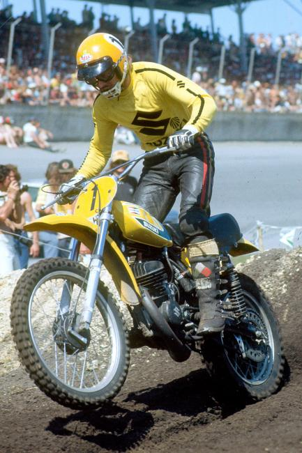Roger DeCoster is no stranger to Daytona, here he's seen racing in 1974.