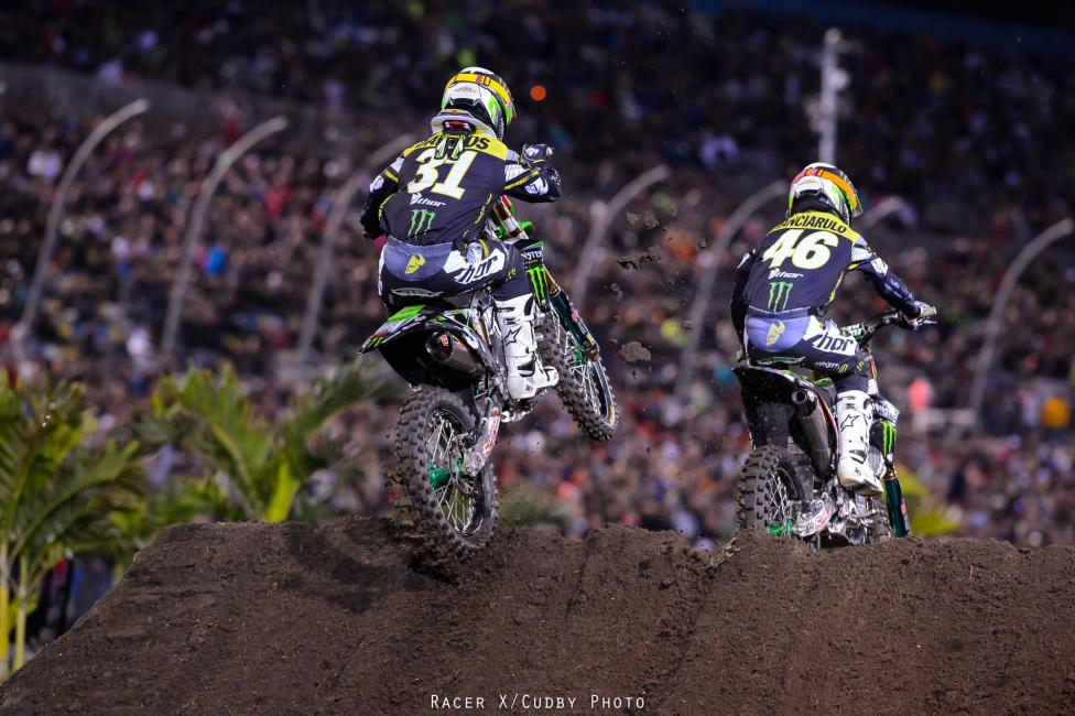 Davalos would finish third on the night giving Pro Circuit a 1-2-3 finish. Photo: Simon Cudby