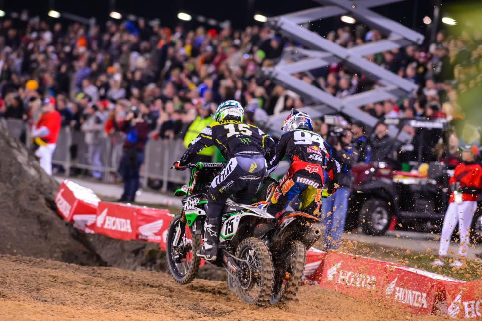 Wilson was able to hold off Ken Roczen (94) and Ryan Dungey for a majority of the main.