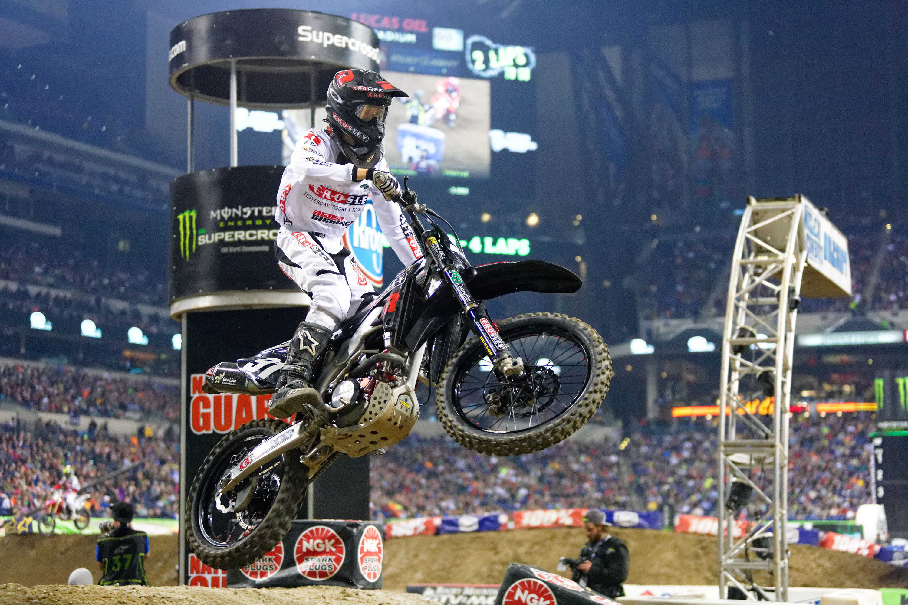 Baumert is adjusting to Monster Energy Supercross, and made his first career main last Saturday. Photo: Andrew Fredrickson