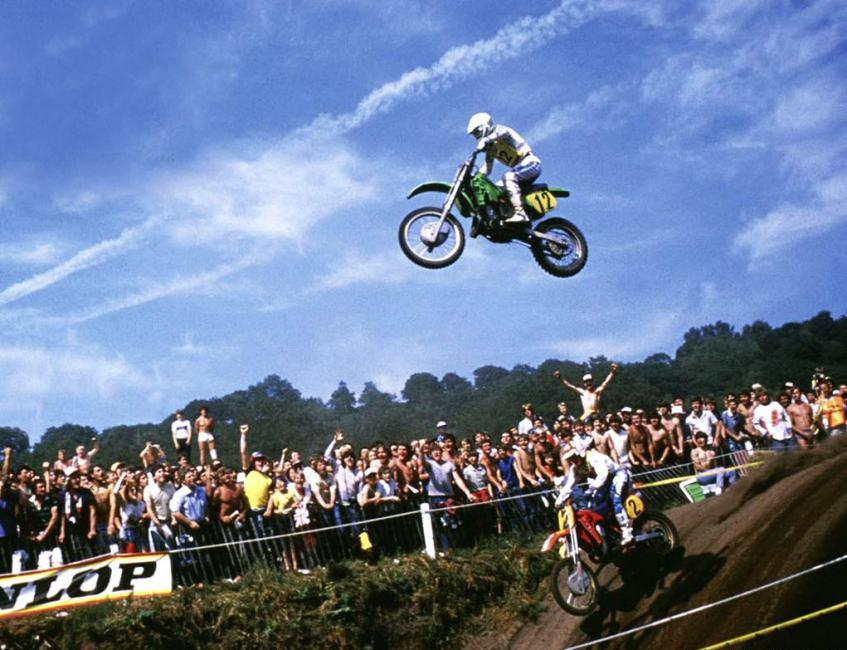 Georges Jobe's extraordinary leap at Hawkstone Park in 1984. Photo: Racer X Archives