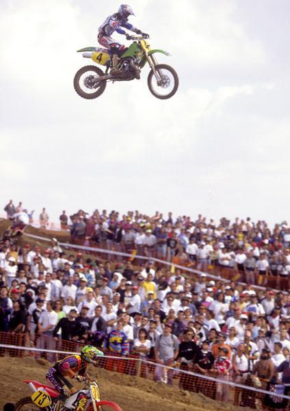 That's Jeff Emig taking the high line in the 1996 Motocross des Nations for Team USA.Photo: DC