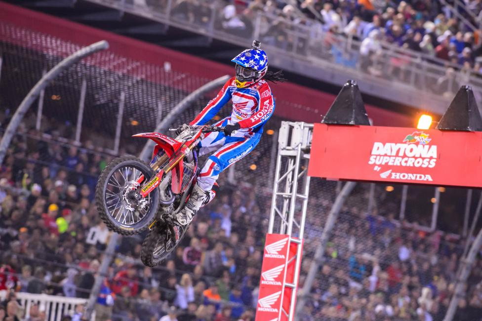 Troy Lee Designs/Lucas Oil Honda's Malcolm Stewart took a heavy fine for a heated moment at Daytona.Photo: Simon Cudby