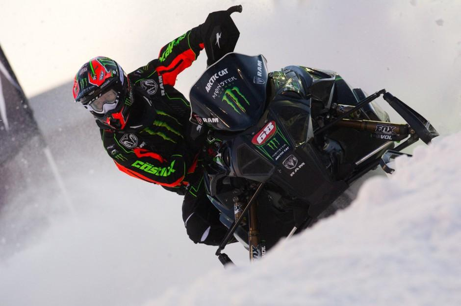 Tucker Hibbert puts his excellent dirt bike skills to use this weekend at Lake Geneva's Amsoil Snocross.