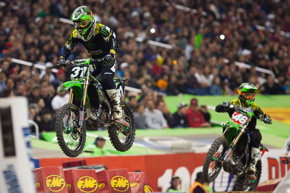 Following a big crash in practice, Martin Davalos would rebound to win his heat race and control the early lead over teammate Adam Cianciarulo.