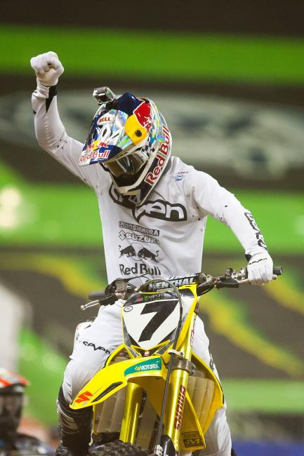 Stewart joins Ricky Carmichael for second on the all-time supercross wins list with 48 career wins.