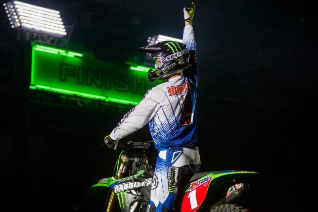 Tyler Bowers is close to wrapping up the 2014 Amsoil Arenacross Championship. Photo: Monster Energy Kawasaki