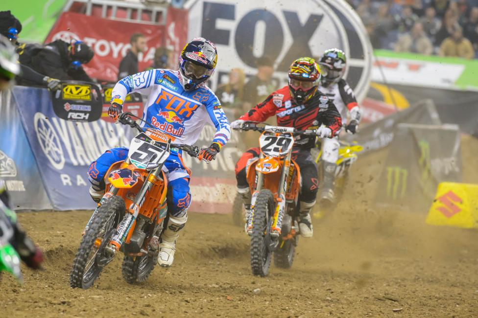 Ryan Dungey (5) and Andrew Short (29) both used data from the Dartfish to find the fastest line in Detroit. Photo: Simon Cudby