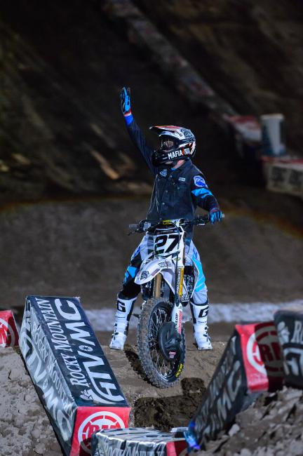 Michigan native Nick Wey got the crowd pumped during opening ceremonies.  Photo: Simon Cudby