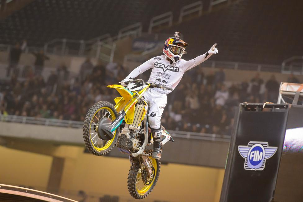 James Stewart tied Ricky Carmichael in SX wins last weekend. Photo: Simon Cudby