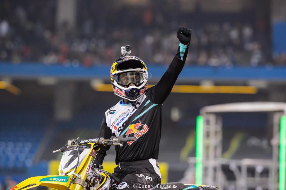 Stewart eclipsed Ricky Carmichael on the all time AMA Supercross wins list with his 49th career win—his fourth of 2014.  Photo: Simon Cudby