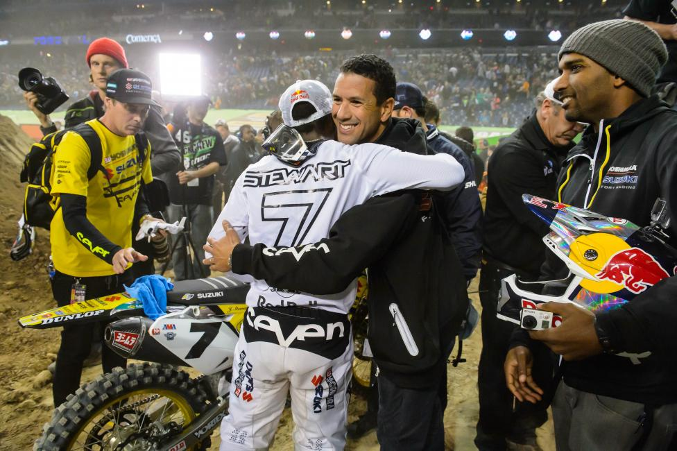 James and Pablo celebrate James' win in Detroit.  Photo: Simon Cudby