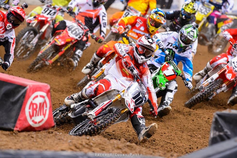 Holeshot artist Mike Alessi would take the early lead, but the night belonged to Villopoto and Stewart.