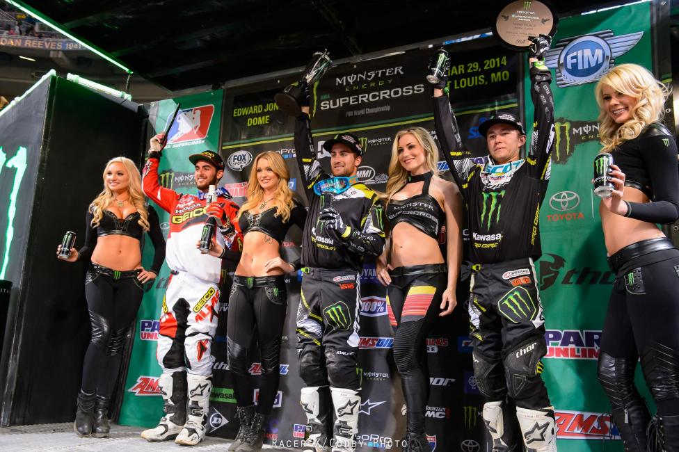 Bogle (left) would join Pro Circuit teammates Davalos and Baggett on the podium. Photo: Cudby
