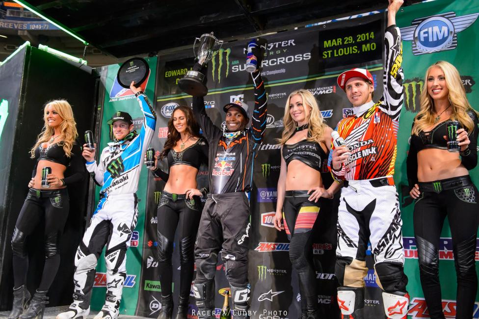 RV (left), Stewart and Barcia would make up the 450 podium.