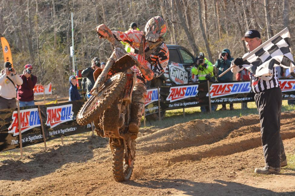 Kailub Russell celebrates his win in Morganton.