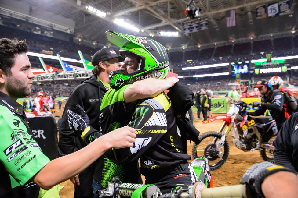 Davalos and the team celebrate his second win of the season. Photo: Simon Cudby