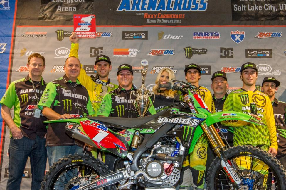 Bowers and the entire Babbitt's Monster Energy Amsoil Kawasaki team celebrate the win.