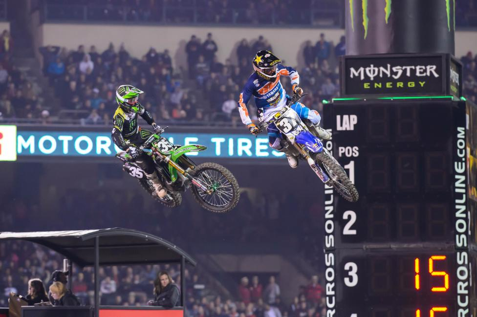 Justin Hill (35) is looking for his second straight win, while rookie Cooper Webb (37) is still searching for his first.