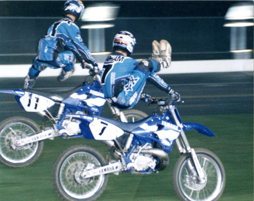 The 90s called and it wants its tricks back. Wait, this photo is from the 90s! Ezra Lusk (11) and a young K-Dub bust it out at Charlotte Motor Speedway. Later that night, Windham would become the first 125 rider to win a 250 race on the opposite coast.Photo: Steve Bruhn