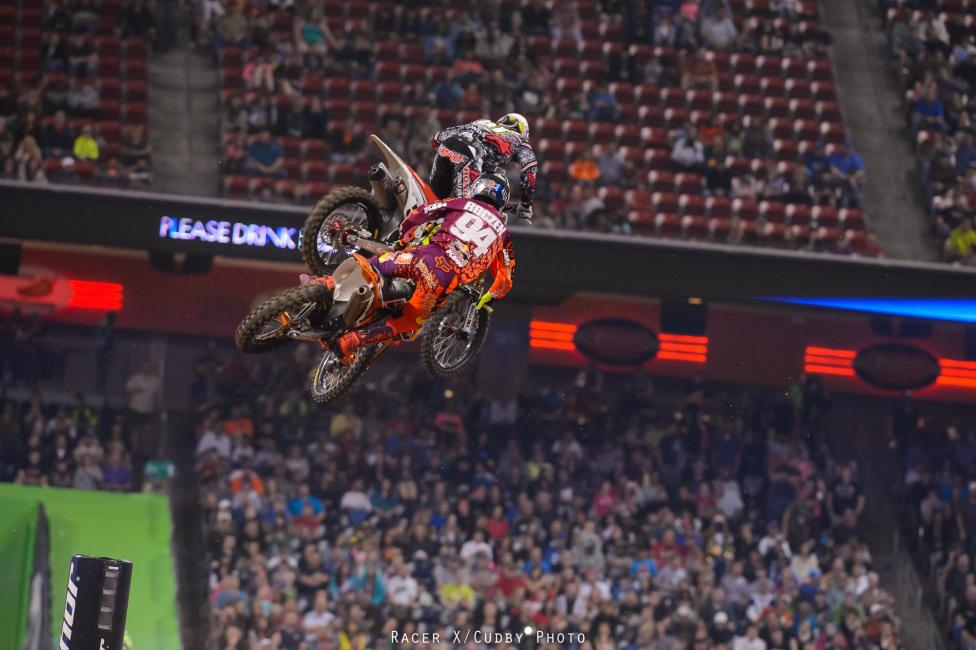 There was a little action early as Honda Muscle Milk's Justin Barcia and Red Bull KTM's Ken Roczen battled.Photo: Cudby