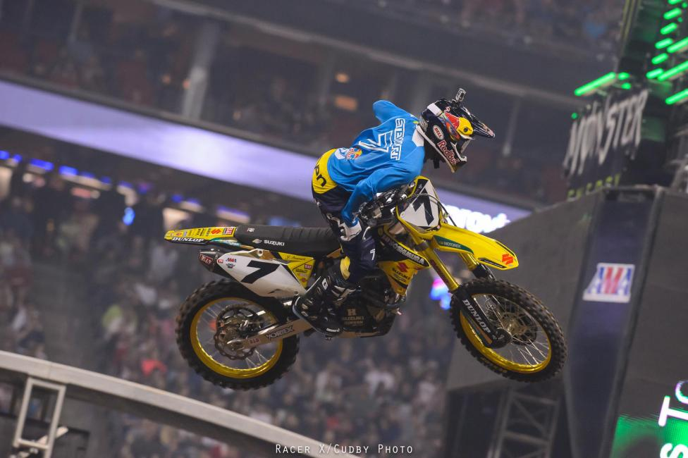 Stewart was sick all day and didn't even ride the final practice. He battled pretty hard to win his heat race, but the Yoshimura Suzuki rider didn't have much in the main and settled for a, wait for it, lonely fifth. Andrew Short was sixth on the BTOSports.com KTM.Photo: Cudby