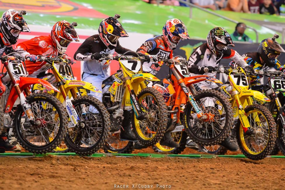 There was carnage off the start of the 450 main. Soaring Eagle Casino/RCH Suzuki's Josh Hill (75) was riding the best he had all season and won his heat, but then crashed. Motosport/Fly's Weston Peick and Red Bull KTM's Ryan Dungey crashed together in the first rhythm lane, JGR Toyota Yamaha's Josh Grant got tangled in it, which ended his night. Grant was also riding well throughout the day--tough one for the Joshes.Photo: Cudby